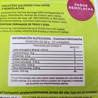Galletas saladas con soja y remolacha - Nutrition facts - es