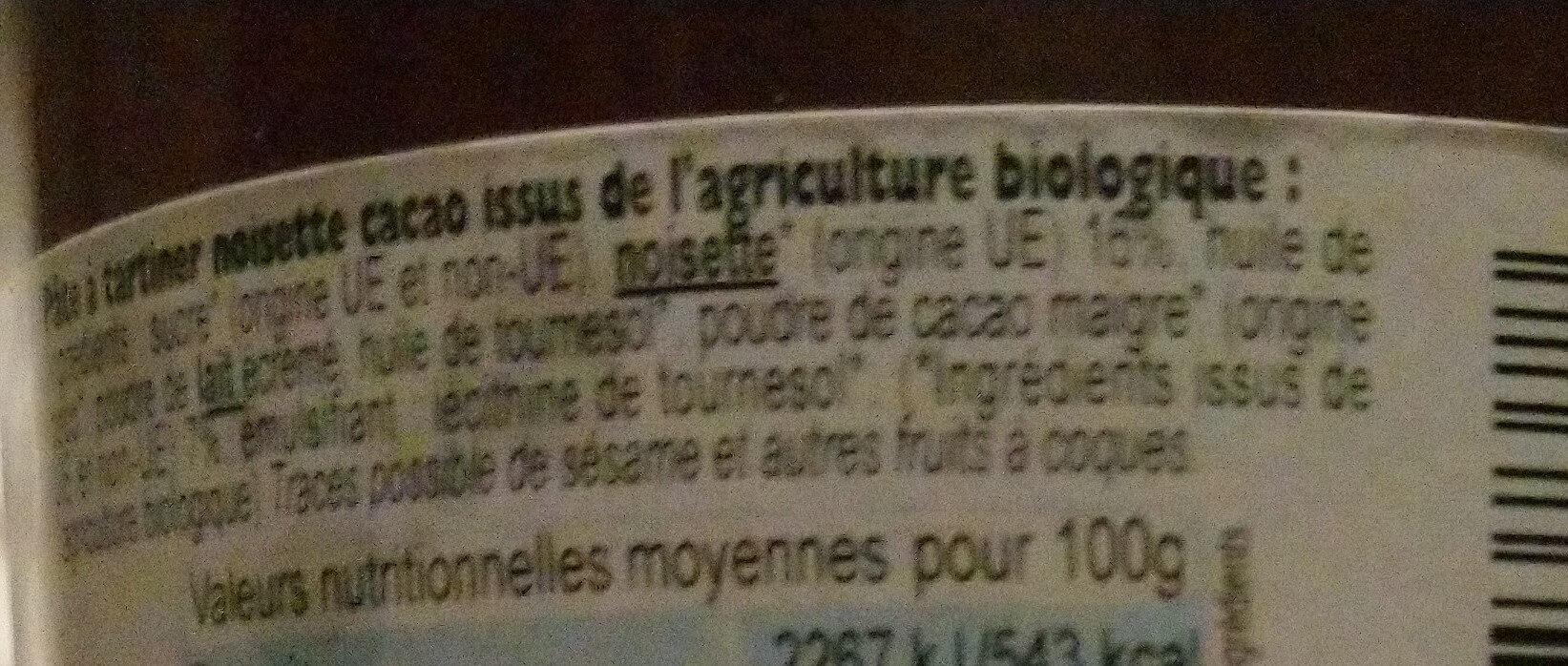 Pâte à tartiner bio - Ingrédients - en