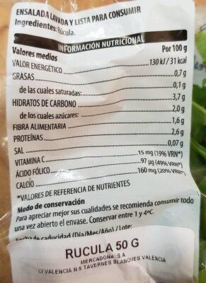 Rúcula lavada - Información nutricional - es