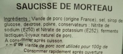 Saucisse de morteau - Ingrediënten