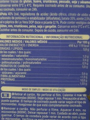 Pota Cortada  a la gallega - Nutrition facts