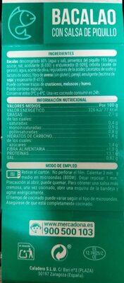 Bacalao con salsa de piquillo - Nutrition facts