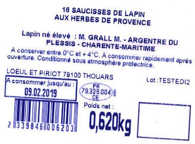 16 Saucisses de lapin aux herbes de provence - Ingredients
