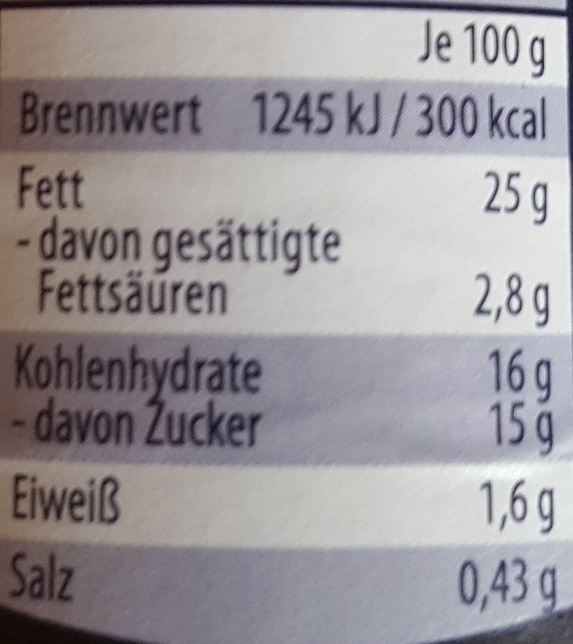 Apfel-Sahne-Meerrettich - Nutrition facts - de
