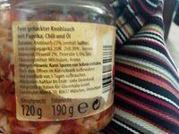 Knoblauch fein gehackt Chili & Öl - Ingrédients - de