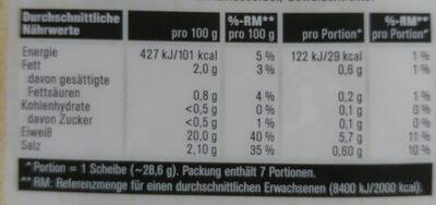 Hinterschinken - Nutrition facts - de