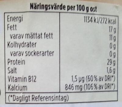 Hushållsost mild & len - Voedingswaarden