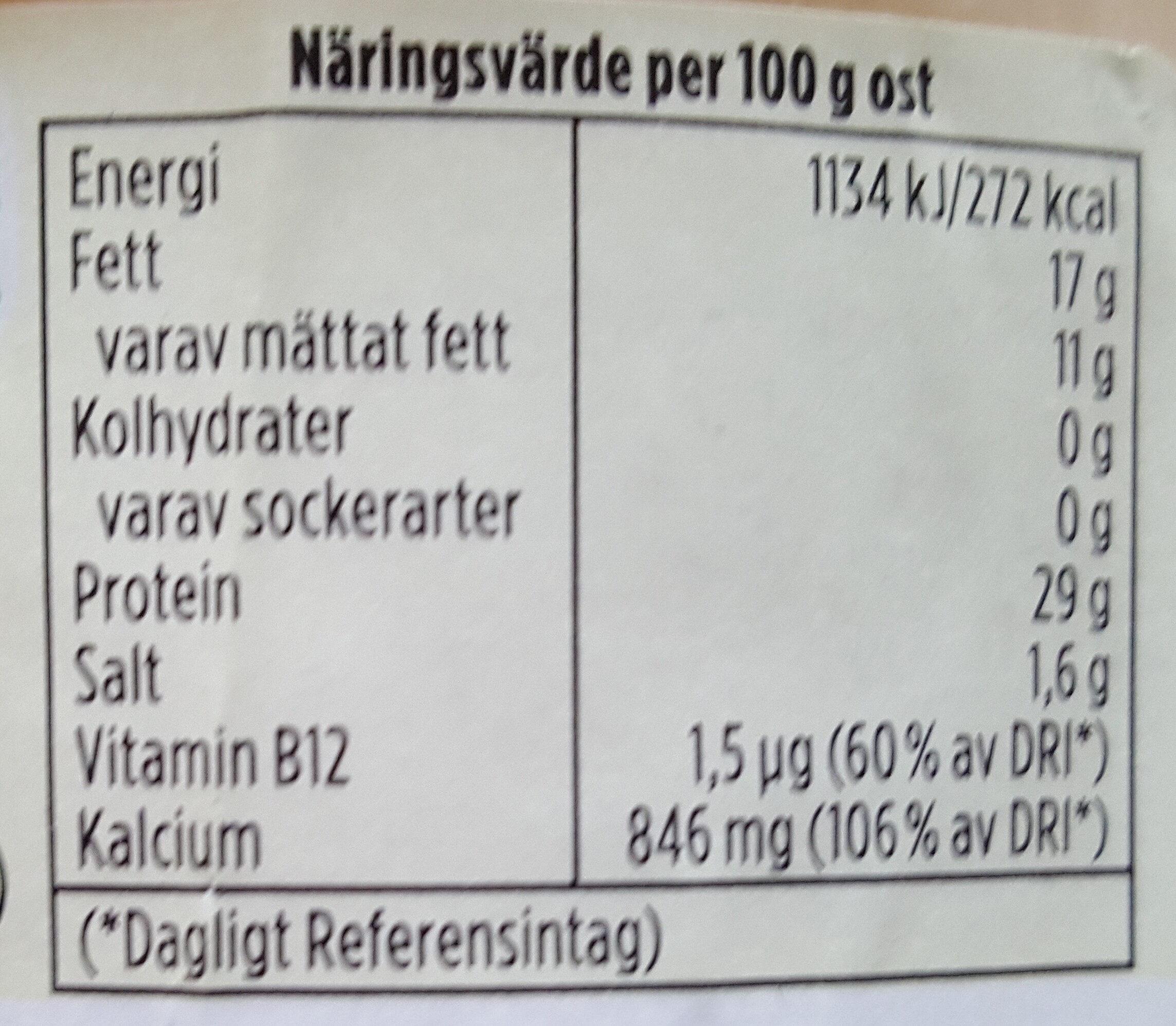 Hushållsost mild & len - Voedingswaarden - sv