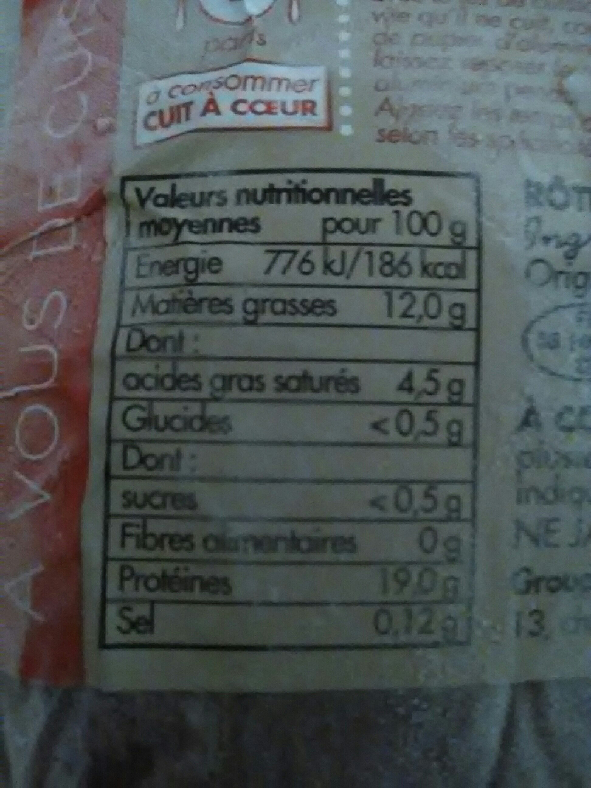 rôti de porc français - Nutrition facts