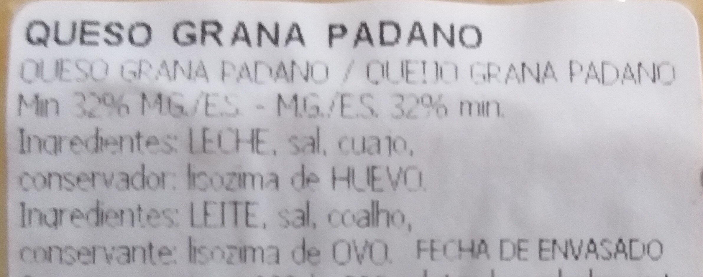 GRANA PADANO - Ingredients - es