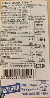 Grana Padano - Informació nutricional