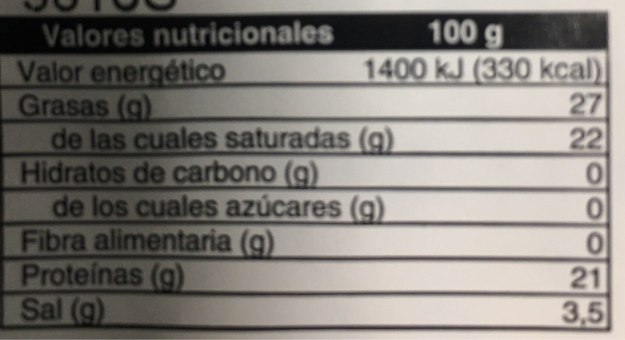 Queso Azul - Nutrition facts