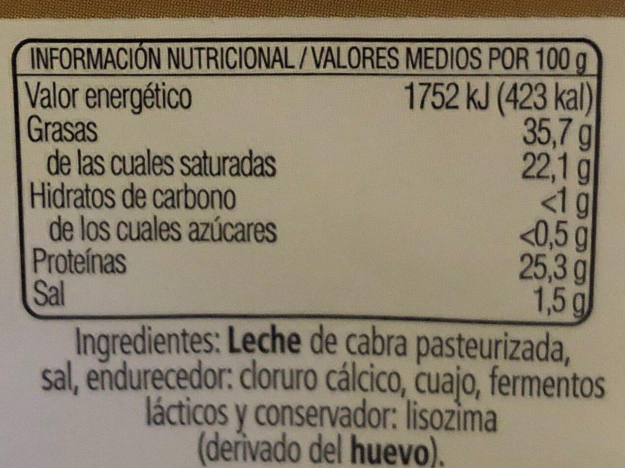 Queso de cabra tierno - Nutrition facts