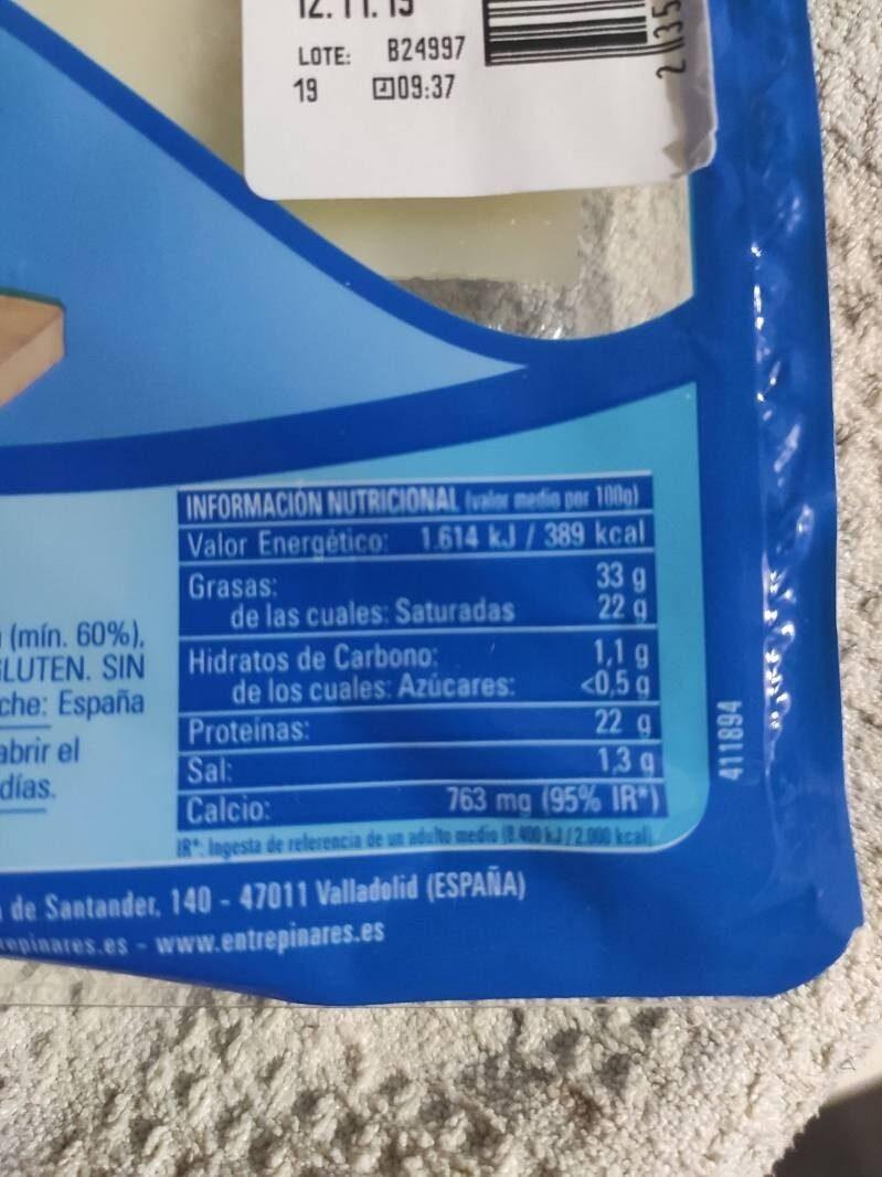 Queso en lonchas semicurado - Nutrition facts