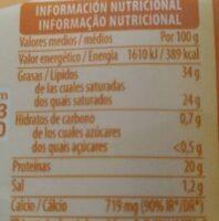 Queso de cabra - Informació nutricional