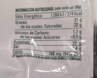 Queso tierno de vaca - Nutrition facts