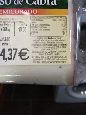 Queso de cabra Montesinos semicurado - Product