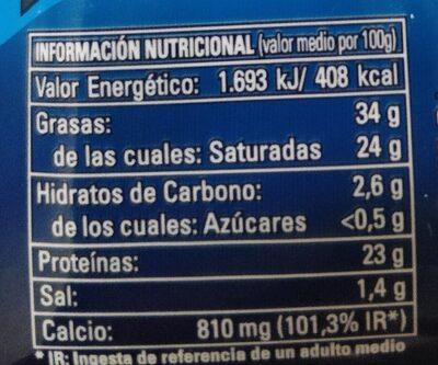 Queso Semicurado cortado en cuñitas - Informació nutricional - es