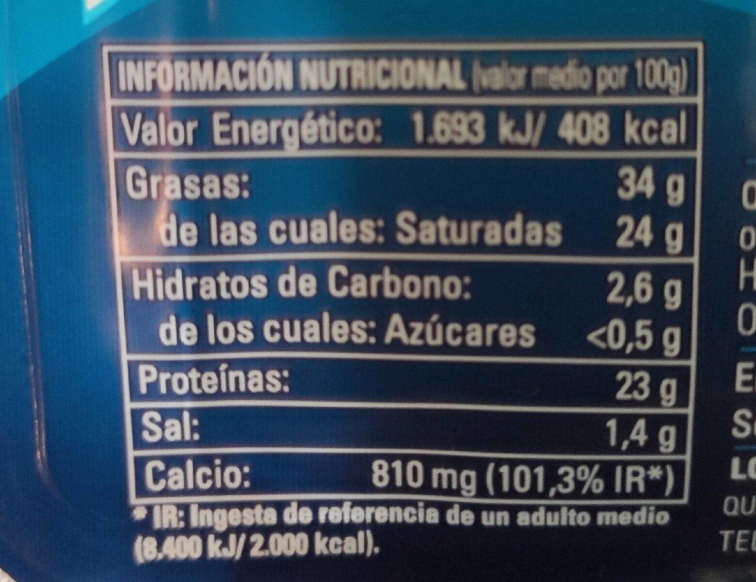 Queso SemiCurado en cuñitas - Informació nutricional - es