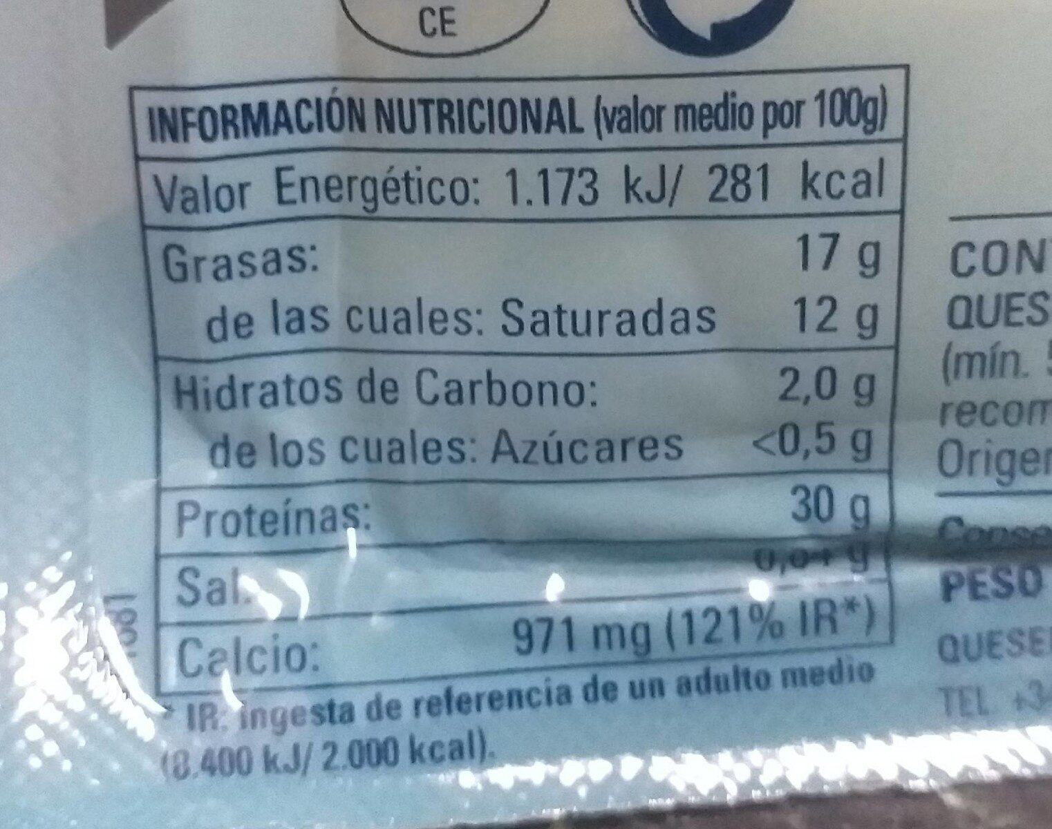 Queso light - Nutrition facts - es