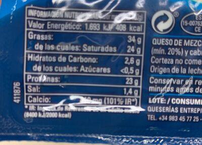 Queso semicurado - Nutrition facts