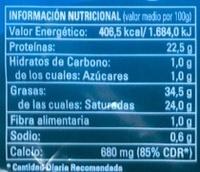 """Queso semicurado """"Entrepinares"""" - Información nutricional"""