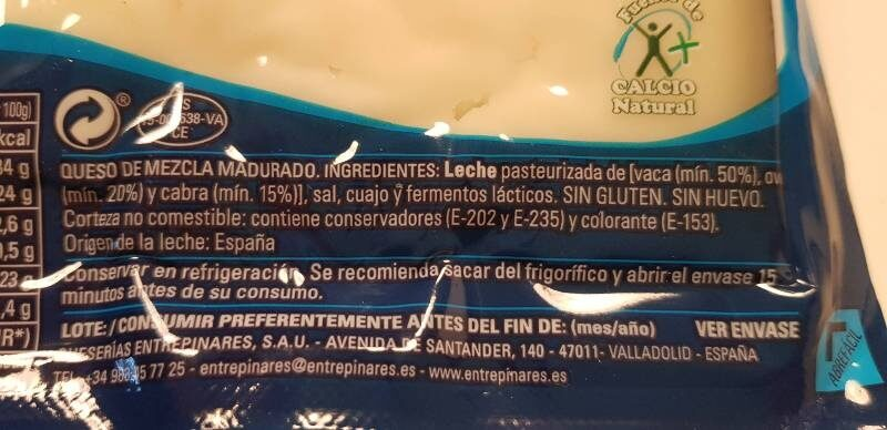 Queso semicurado - Ingrédients - es
