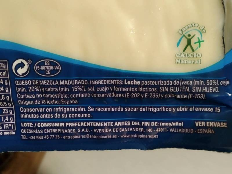 Queso Semicurado - Ingredients