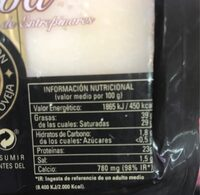 Queso viejo oveja - Nutrition facts - es