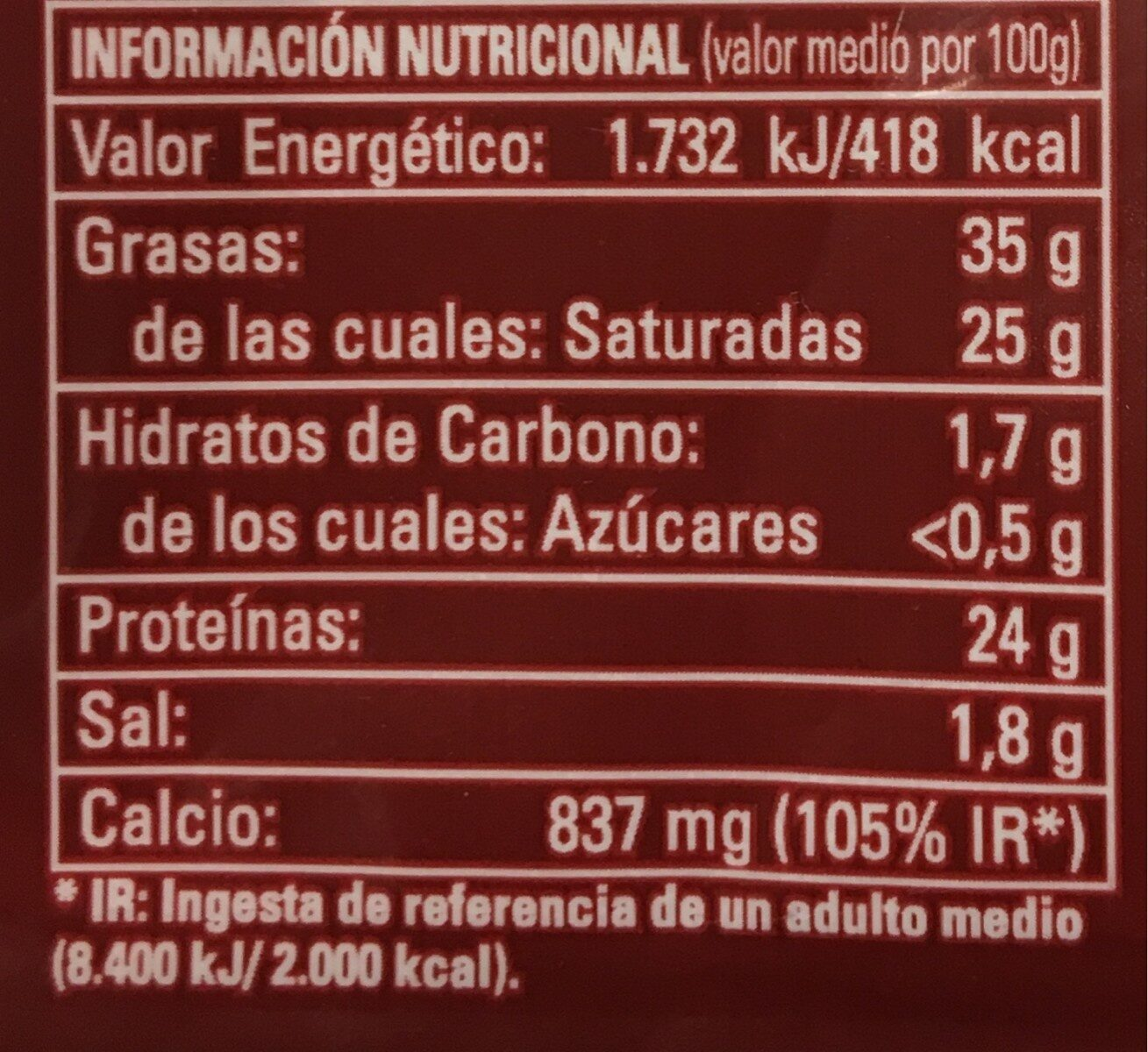 Queso curado - Nutrition facts