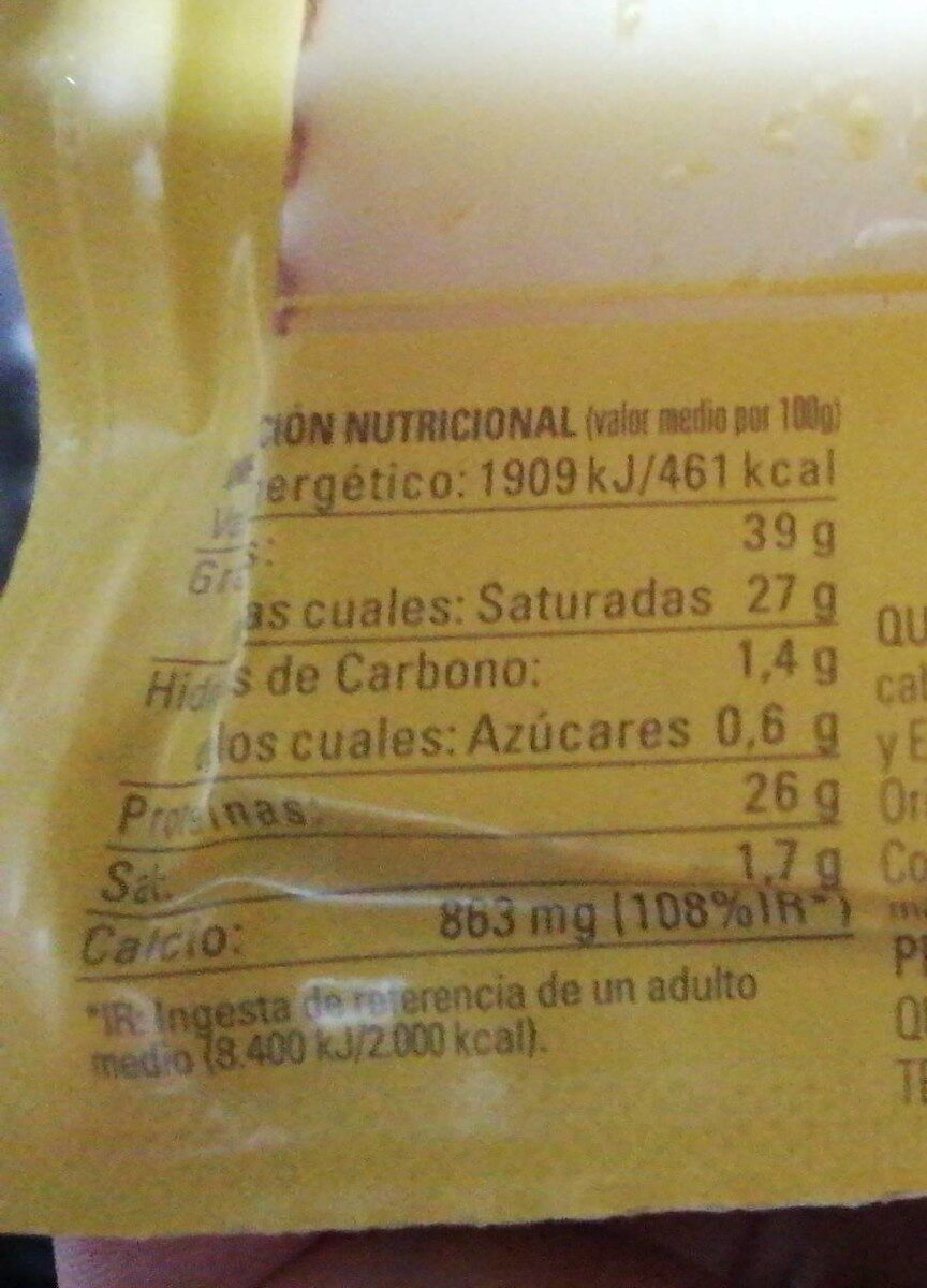 Queso viejo tostado entrepinares - Nutrition facts
