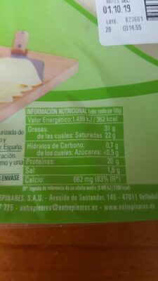 Tierno - Informations nutritionnelles