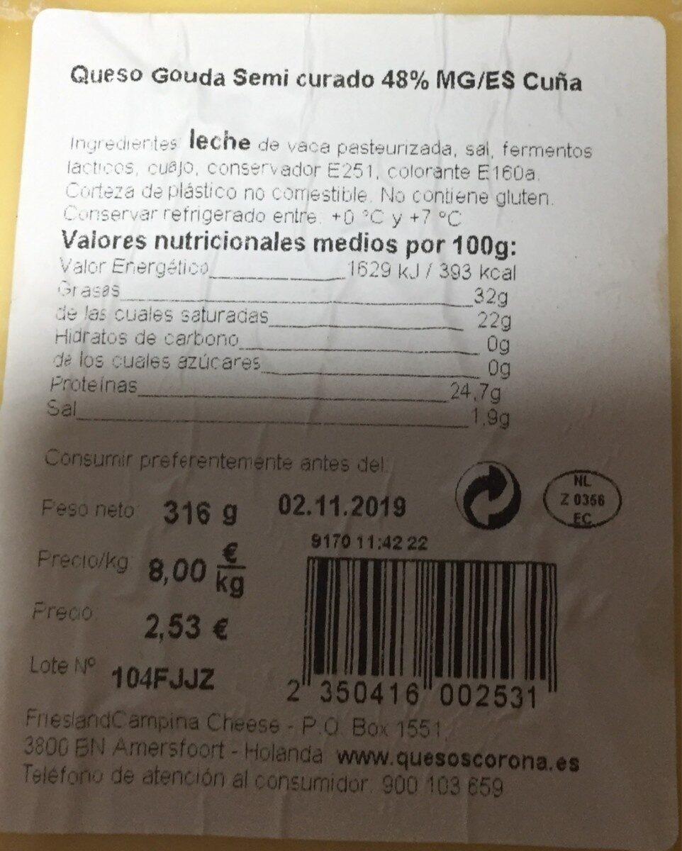 Queso gouda semicurado 48%MG/ES Cuña - Nutrition facts