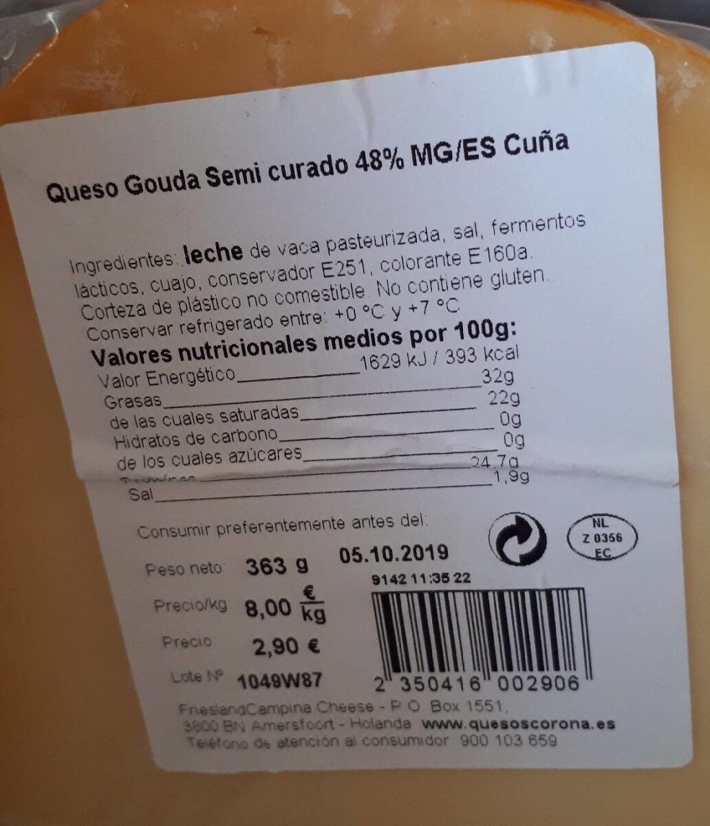 Gouda semi curado - Información nutricional - es