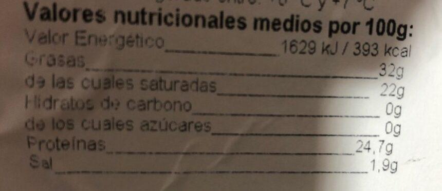 Queso semicurado gouda - Informação nutricional - es