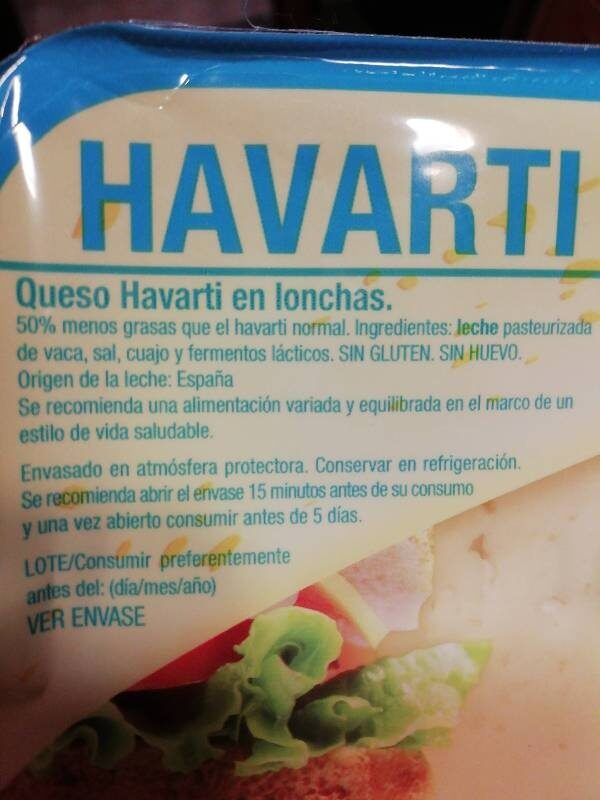 Queso Havarti en lonchas light - Ingredients - es