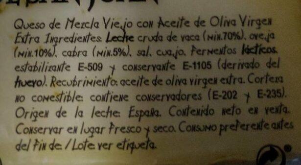Queso añejo con aceite de oliva - Ingrédients - fr