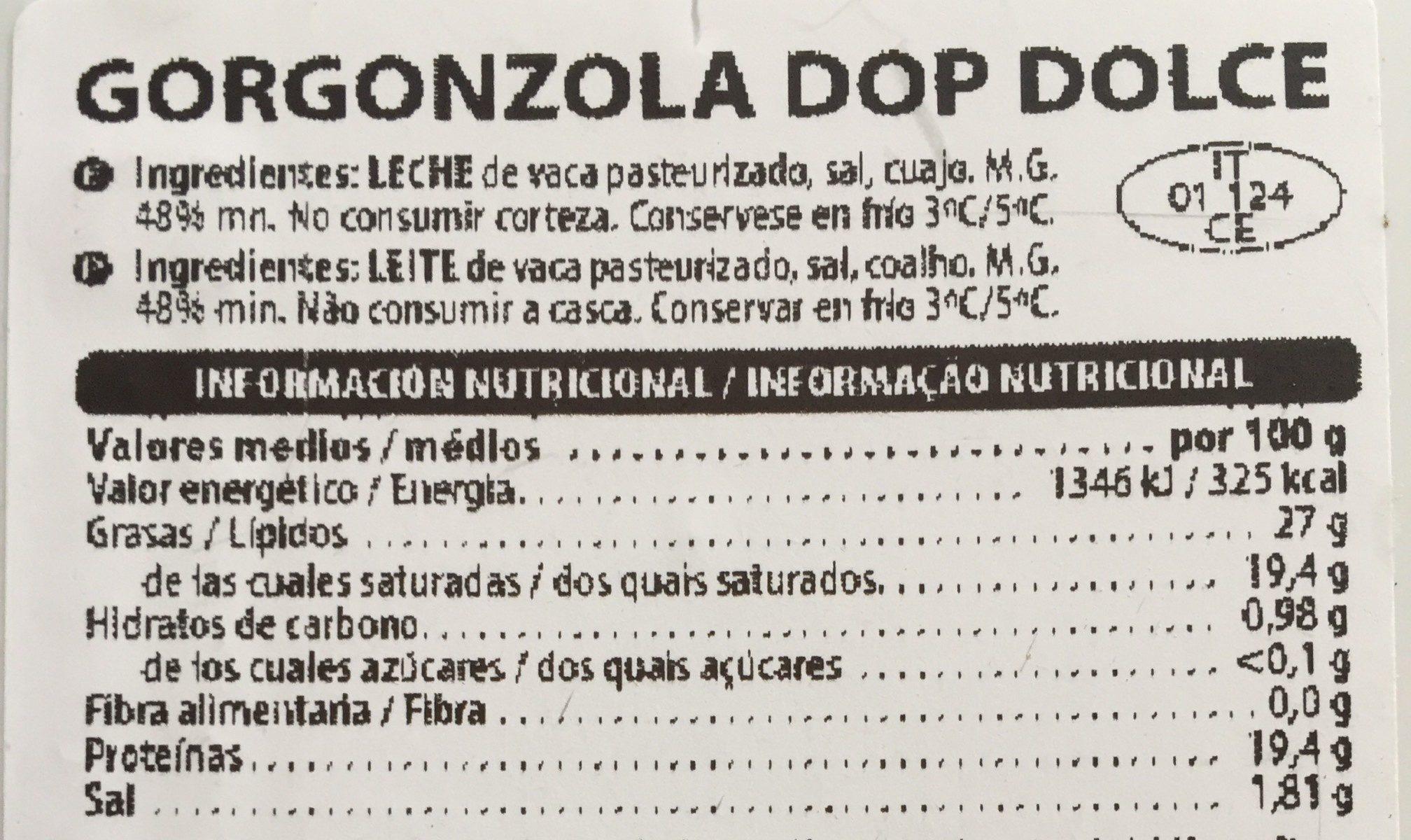 Gorgonzola dolce - Ingredients