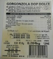 Gorgonzola dolce - Nutrition facts
