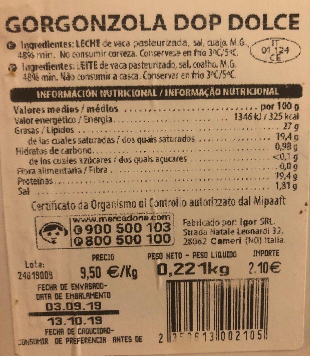 gorgonzola - Informació nutricional