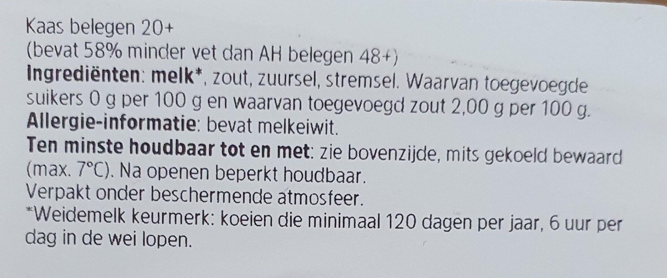 Kaas 20+ belegen - Ingredients - nl