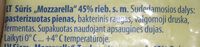 Mozzarella sūris 45% rieb. - Ingredients - lt