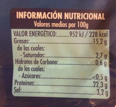 Salomón ahumado - Información nutricional