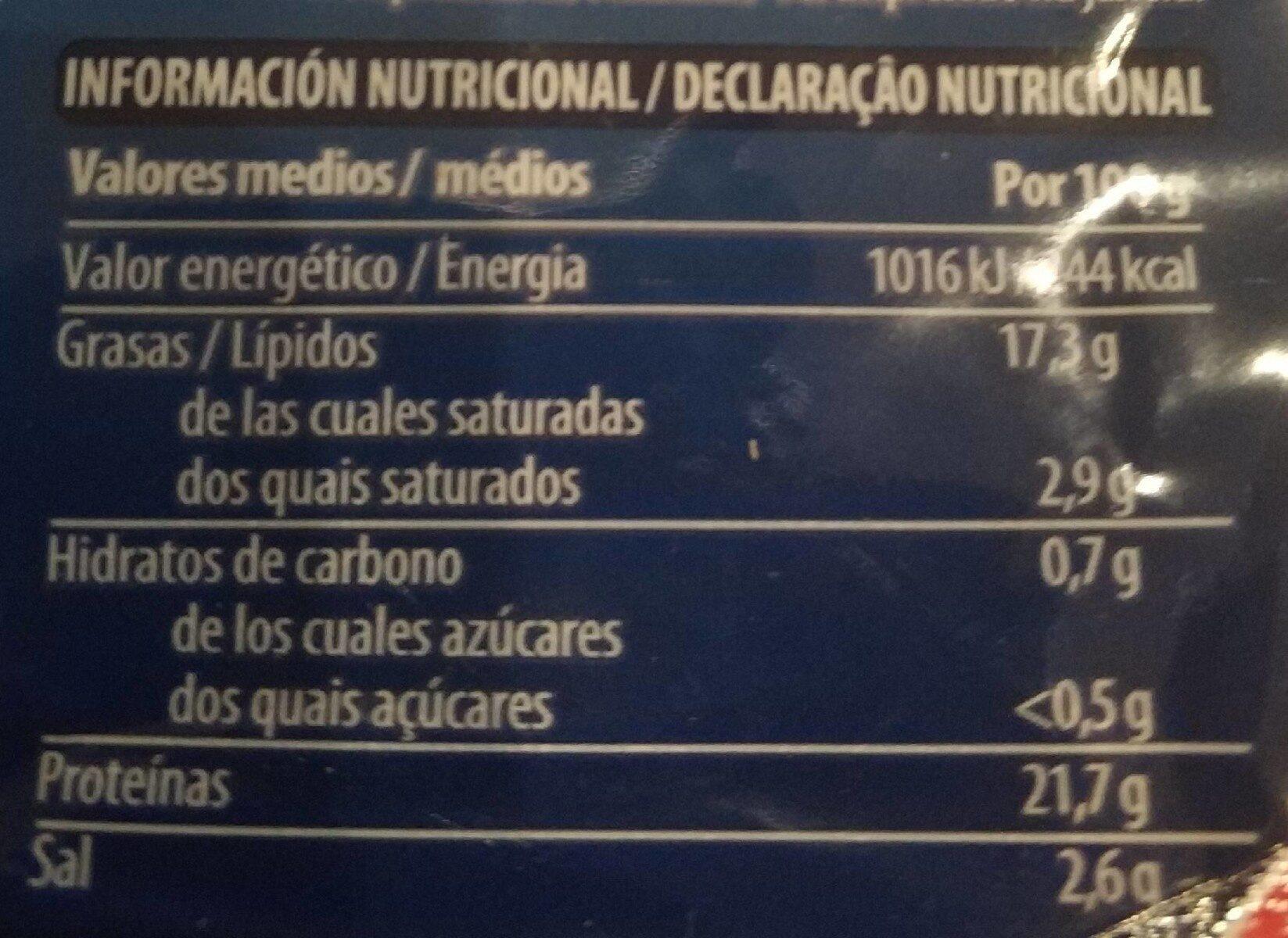 Salmón ahumado - Informació nutricional