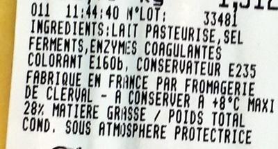 Raclette longe - Ingredients