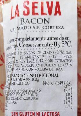 Bacon Ahumado Sin Corteza - Información nutricional - es