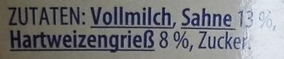 Grießpudding mit Sahne Pur - Inhaltsstoffe - de