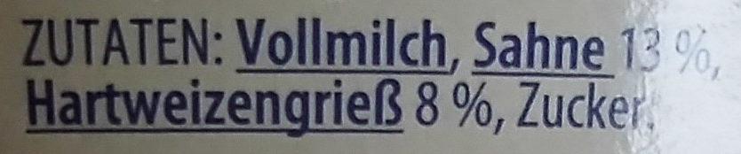 Grießpudding mit Sahne Pur - Ingredients
