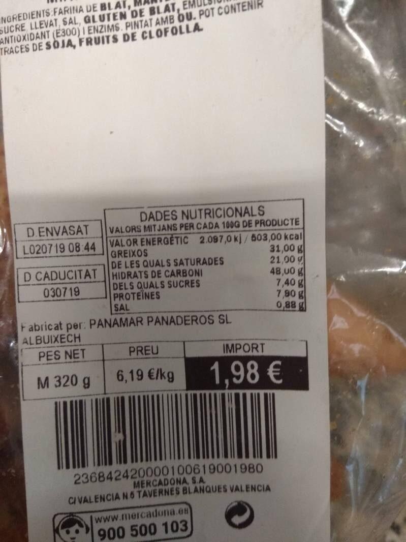 Mini croissant mantequilla - Información nutricional