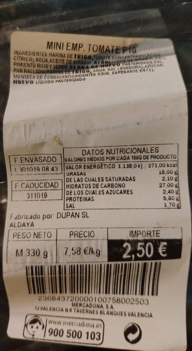 Mini empanadillas de tomate - Nutrition facts